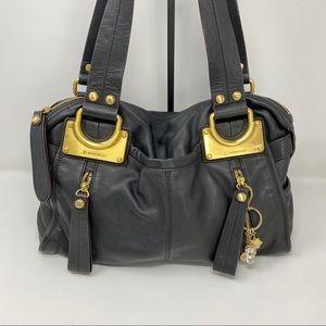B Makowsky Black Leather & chunky metal bag